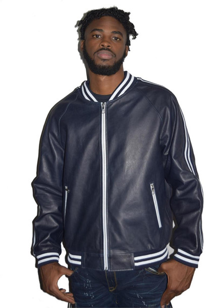 Blue Leather Varsity Stripes Bomber Jacket