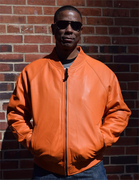 Orange Butter Soft Leather Baseball Jacket