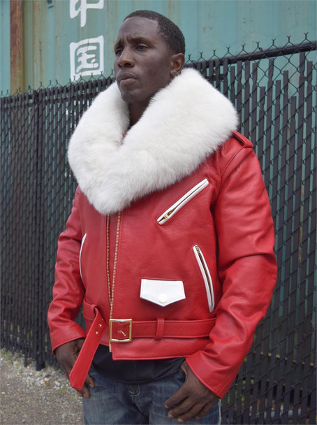 G Gator Red/ White Fox Fur Collar Leather Motorcycle Jacket