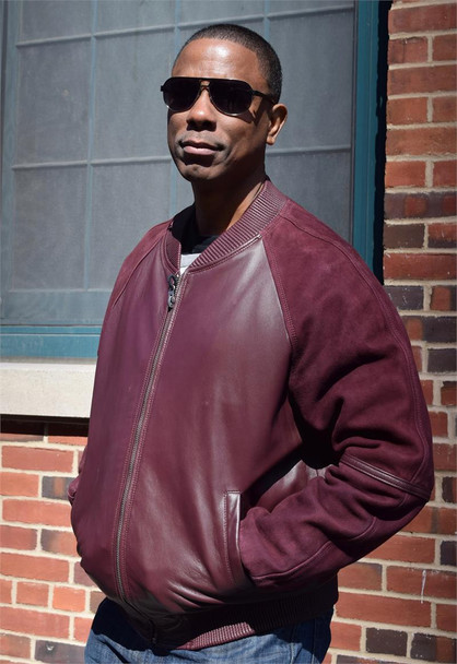 Wine Leather and Suede Bomber Jacket