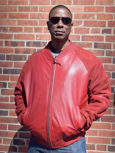 Red Leather and Suede Bomber Jacket