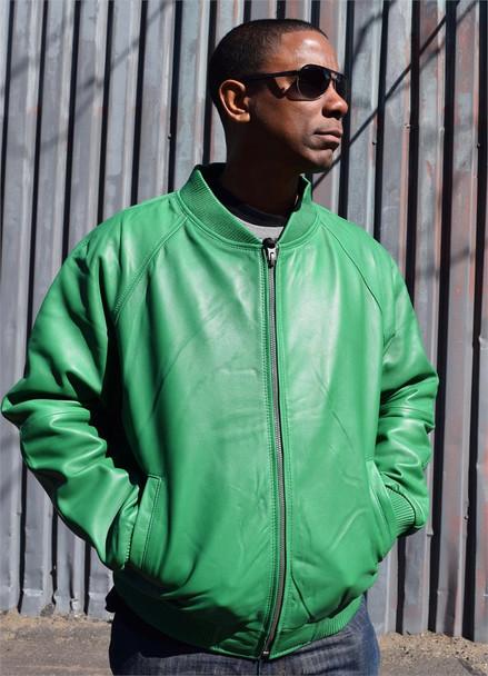 Green Varsity Baseball Leather Jacket