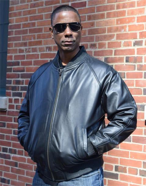 Black Butter Soft Varsity Baseball Leather Jacket