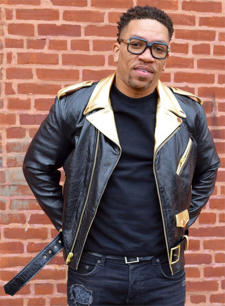 Black and Gold Motorcycle Leather Jacket