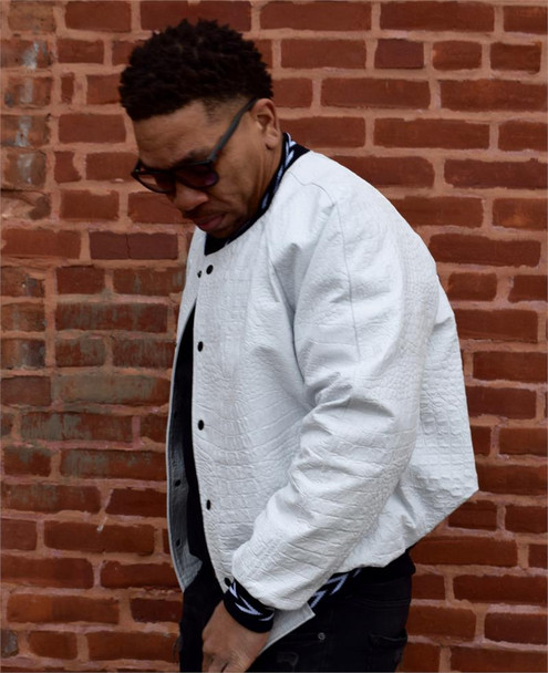 Jakewood White Embossed Baseball Leather Jacket