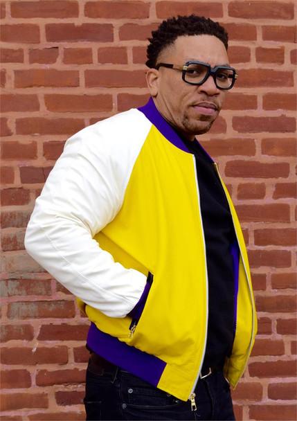 White Yellow and Purple Leather Baseball Jacket