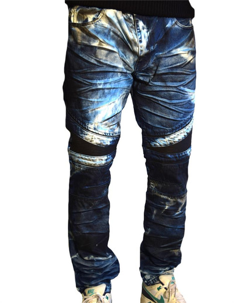 Mens Blue Jay Washed Moto Jeans