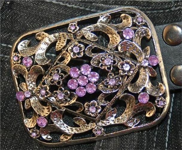 Fancy Square Floral Design Belt Buckle