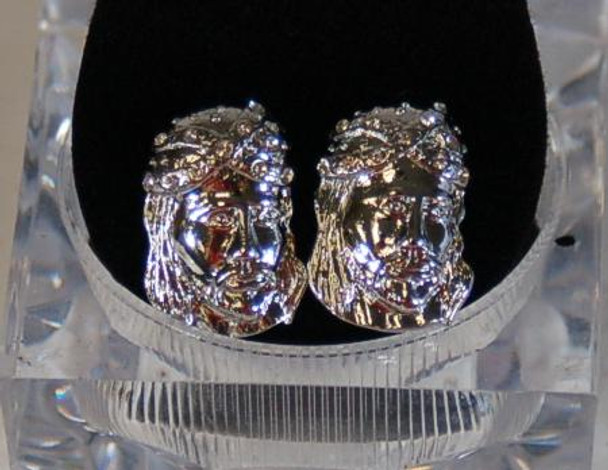 Jesus Head Silver Earrings