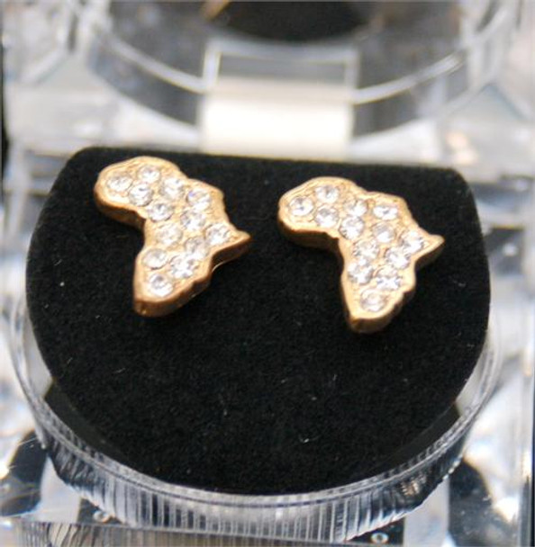 Icy Gold Tone Africa Earrings