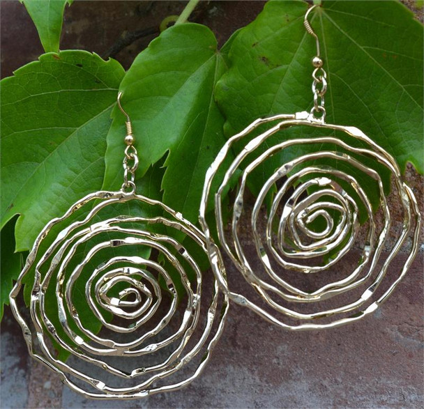 Gold Tone Swirls Ladies Earrings