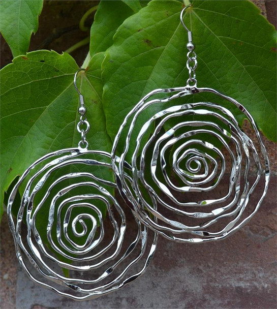 Silver Tone Swirls Ladies Earrings
