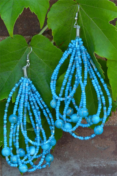 Ladies Blue Colored Beaded Hoop Earrings