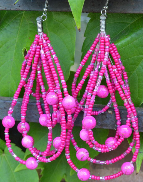 Ladies Pink Colored Beaded Hoop Earrings