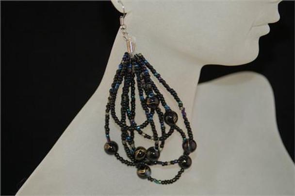 Ladies Black Colored Beaded Hoop Earrings