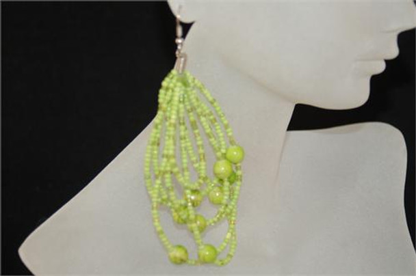Ladies Green Colored Beaded Hoop Earrings