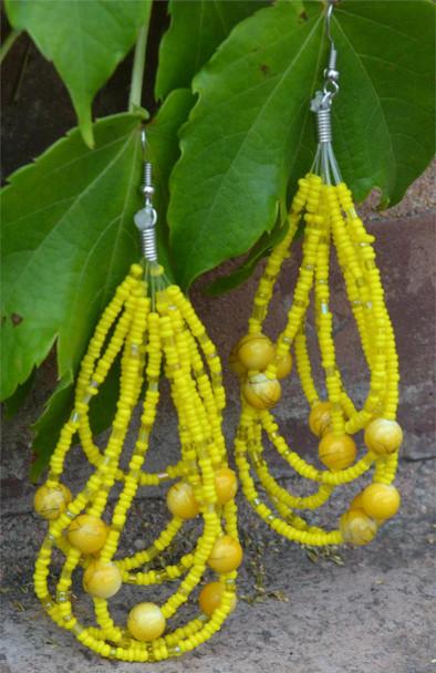 Ladies Yellow Colored Beaded Hoop Earrings