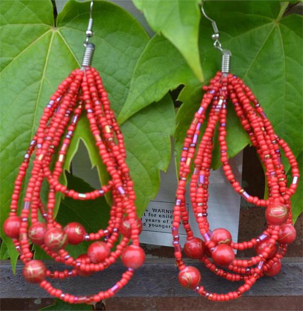 Ladies Red Colored Beaded Hoop Earrings