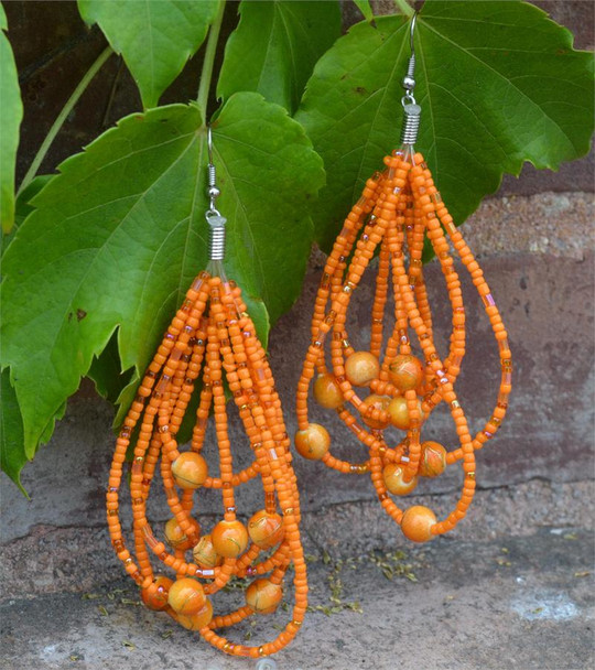 Ladies Orange Colored Beaded Hoop Earrings