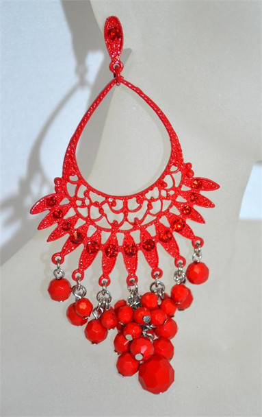 Red Drop Chandelier Earrings