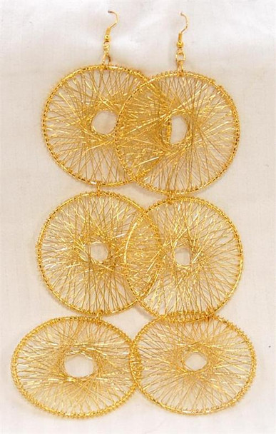 Gold 3 Hoop Design Earrings