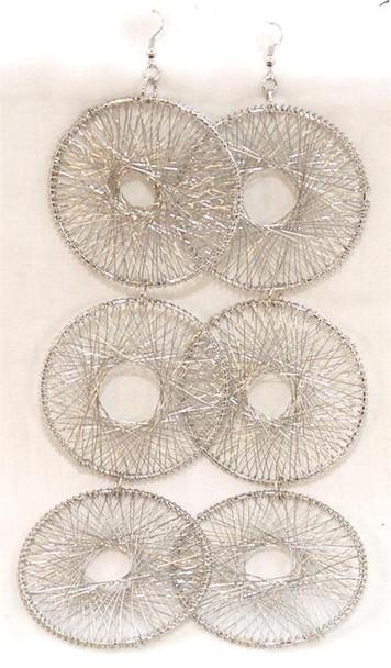 Silver 3 Hoop Design Earrings