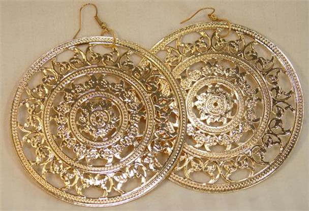 Gold Large Circle Design Earrings