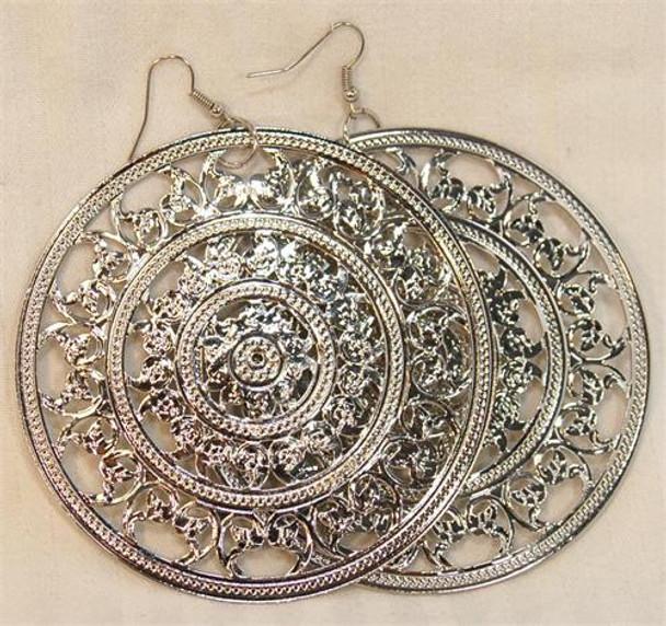 Silver Large Circle Design Earrings