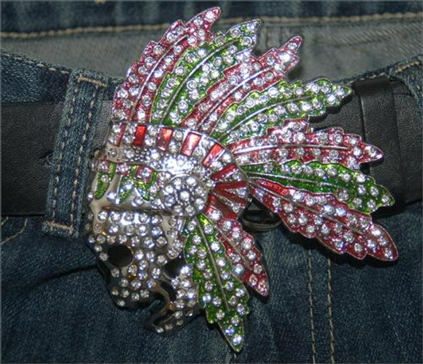 Colored Skull and Feathers Belt Buckle