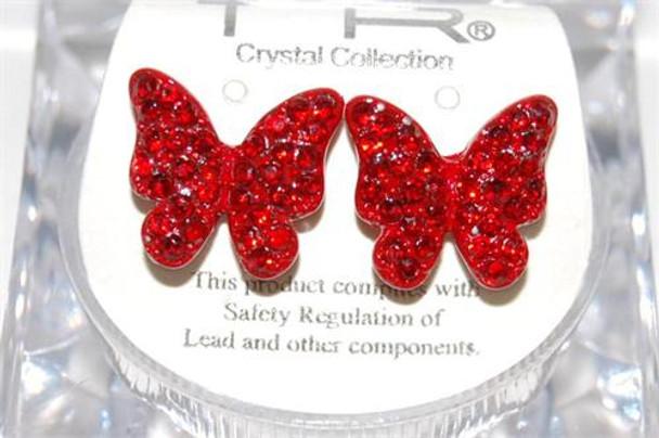 Studded Red Butterfly Earrings