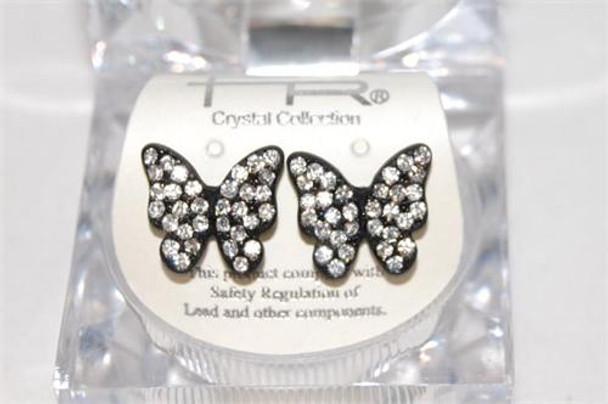 Studded Black Butterfly Earrings