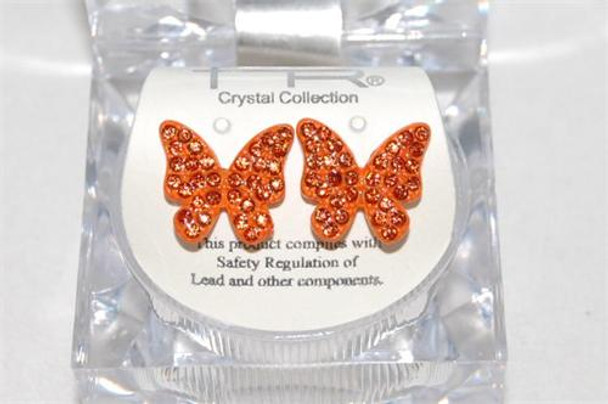 Studded Orange Butterfly Earrings