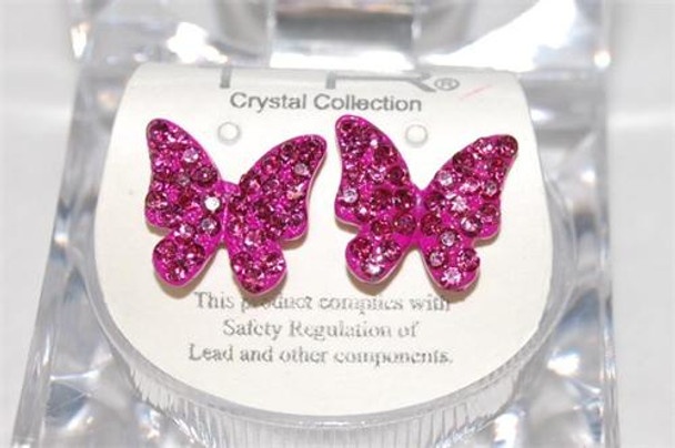 Studded Fushia Butterfly Earrings