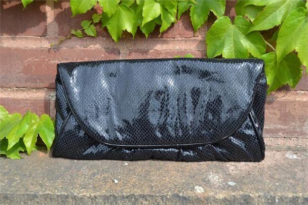 Shiny Black Soft Clutch Handbag