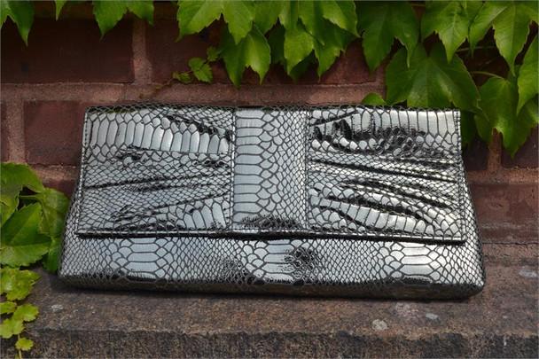 Silvery Bow Style Clutch Handbag