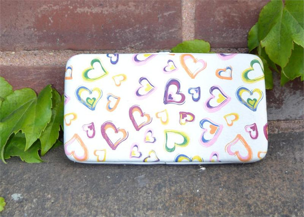 Colored Hearts Wallet Wristlet