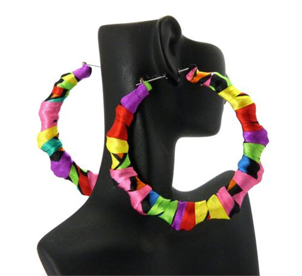 Ladies Rainbow Circle Doorknocker Earrings