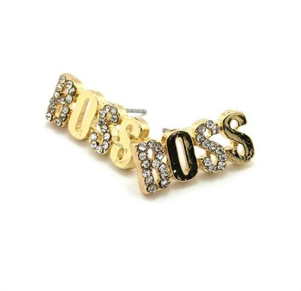 Gold Icey Boss Stud Earrings