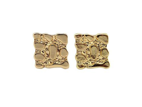 Gold Nugget Square Stud Earrings