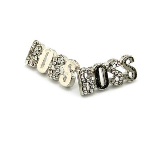 Silver Icey Boss Stud Earrings