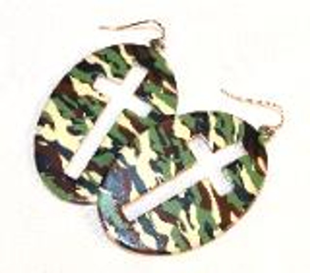 Camoflauge Cross Cut out Earrings