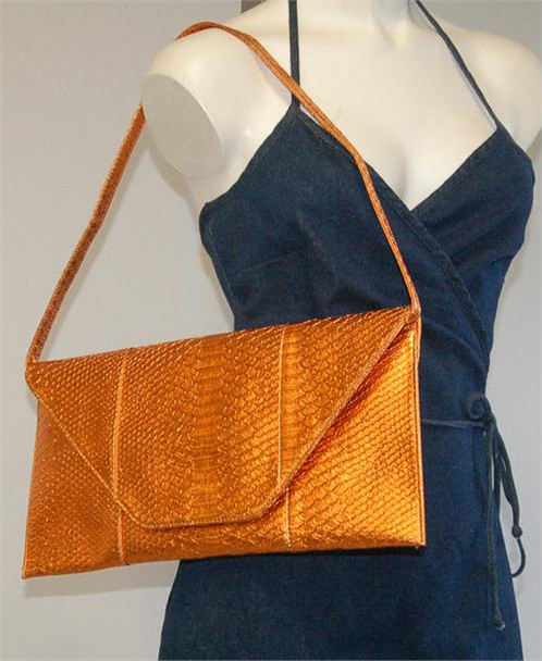 Rectangle Metallic Orange Snake Look Envelope Purse