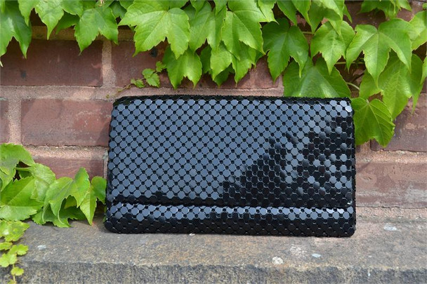Black Flat Link Evening Purse