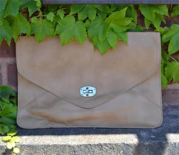 Faux Leather Camel Envelope Bag