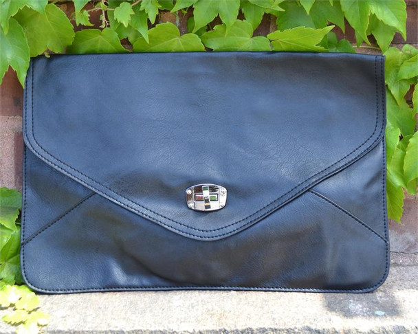 Faux Leather Black Envelope Bag
