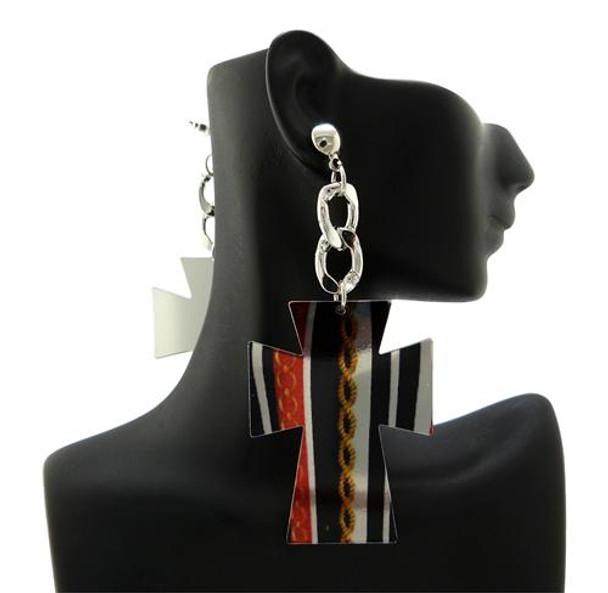 Silver Cross Cutout Earrings