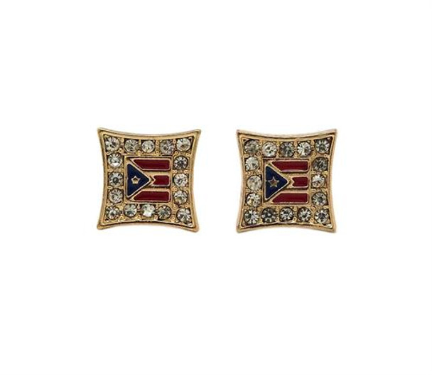 Gold Icy Puerto Rico Stud Earrings