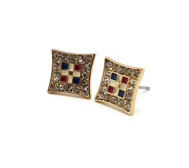 Gold Icy Dominican Republic Stud Earrings
