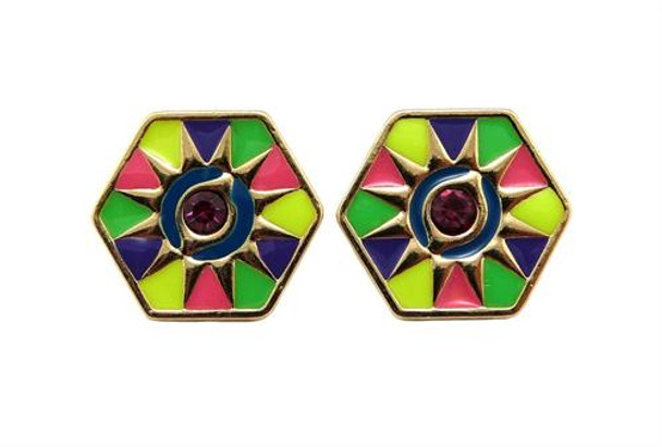 Colored Prism Earring Studs