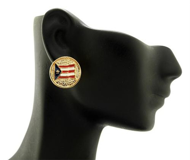 Gold Puerto Rico Flag Gircle Studs